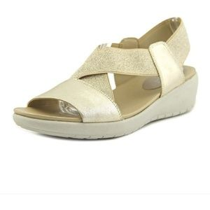 E360 Easy Spirit Comfort Sandal Tan Gold Strap 9